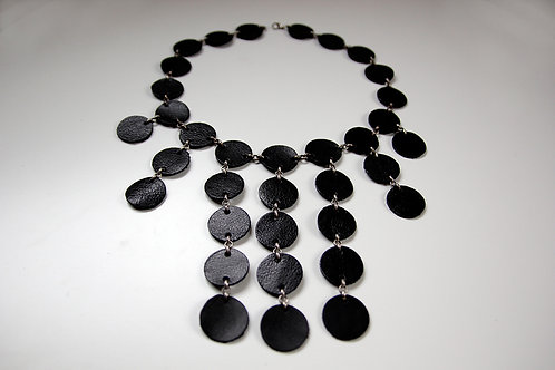 Black leather cluster statement necklace | Impulsiva Jewelry