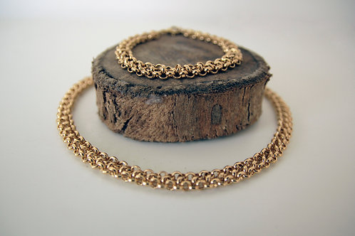 Set of gold weave choker and matching bracelet | impulsiva jewelry