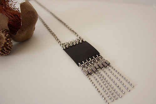 Leather Chain Fringe Necklace