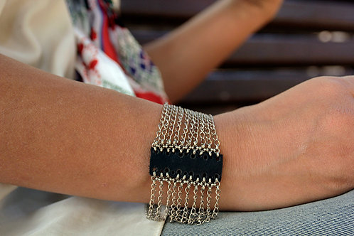 Multi Strand Chains and Leather Stacked Bracelet