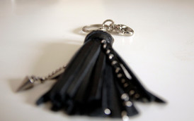 Leather Tassel Keychain with Metal Spikes