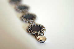 Chain and Leather Circles Bracelet