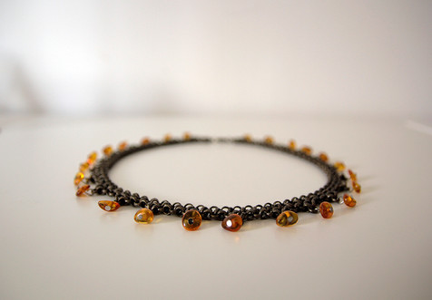 Short Brass Necklace with Amber
