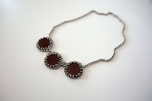 Leather N Chain necklace with three ornate leather circles