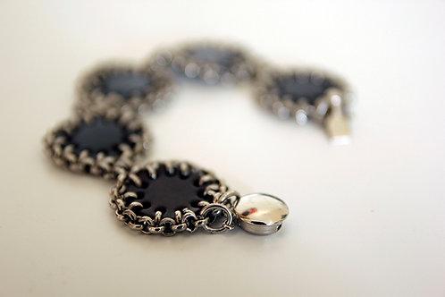 Chain and Leather Circles Bracelet | impulsiva Jewelry