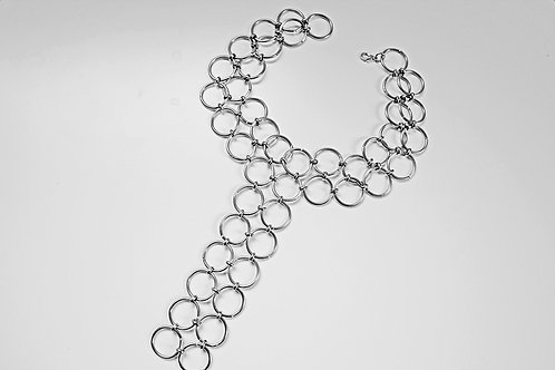 Drop Silver Circle Choker Necklace, Layered Circle Necklace | Impulsiva Jewelry