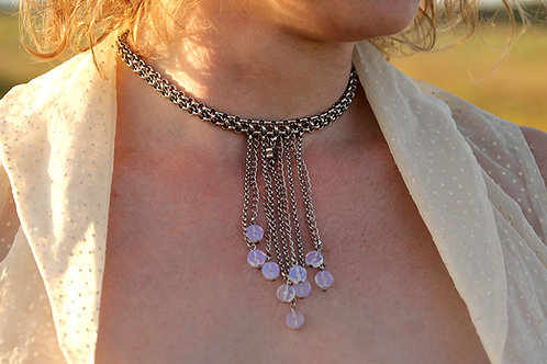 Multi-Strand Drop Silver Necklace with Moonstones | impulsiva Jewelry
