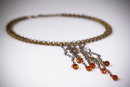 Multi-Strand Drop Brass Necklace with Glass beads | impulsiva Jewelry