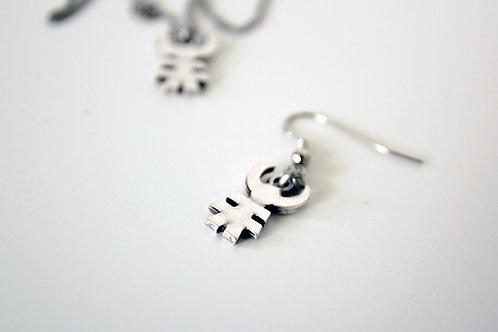 Little Man Earrings, Tribal Talisman Earrings