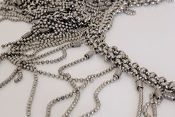 Lariat silver mesh necklace with fringes