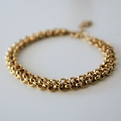 Fancy modern gold link chain mesh bracelet