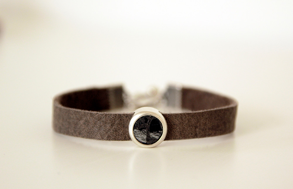 Leather Bracelet with a silver slider bead and leather