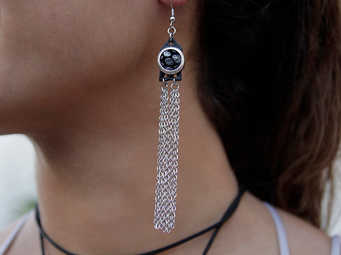 Chain N Leather fringe earrings