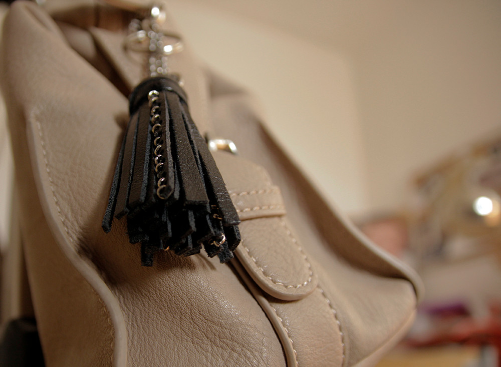 Leather Tassel Keychain in Black with Metal Spikes, Punk and Rockers Keychain
