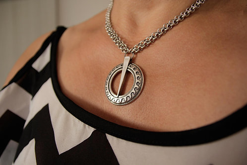 Pagan Sun Pendant Necklace, Viking Necklace, Sword and Sorcery