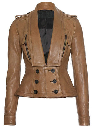 Long Coller Leather Jacket