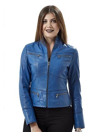 Vintage Blue Leather Jacket
