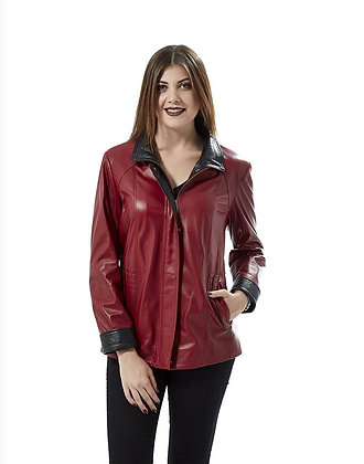 Garnished Red Leather Coat