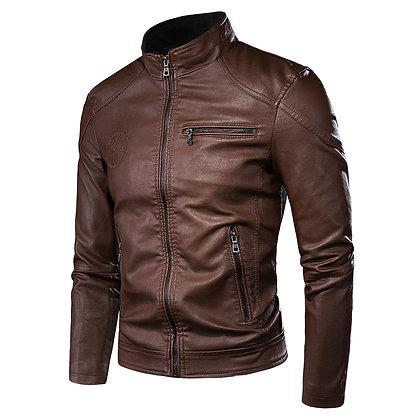 Leather Hipster Jacket Dark Brown