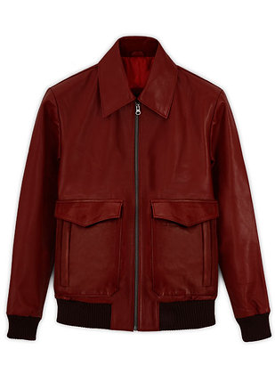 Mahroon Two pocket Leather Jacket