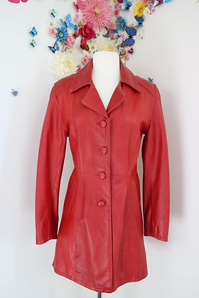 Red Leather Long Coat