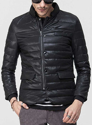 Retro quilted Leather Jacket