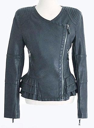 Frilled blue Leather Jacket
