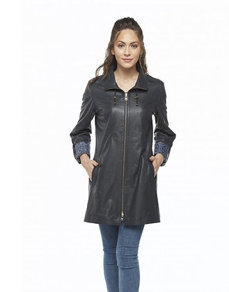 Navy Blue Taffeta Women's Leather Coat