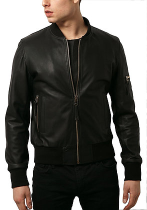 Simple Bomber Leather Jacket