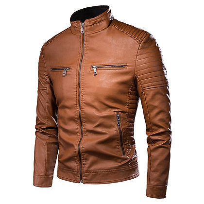 Leather Hipster Jacket  Brown