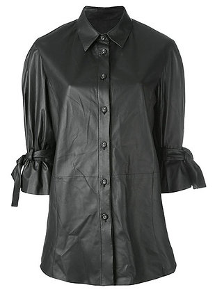 Sleeves Bow Leather Shirt