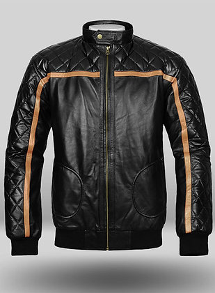 Brown Strip Quilted Leather Jacket