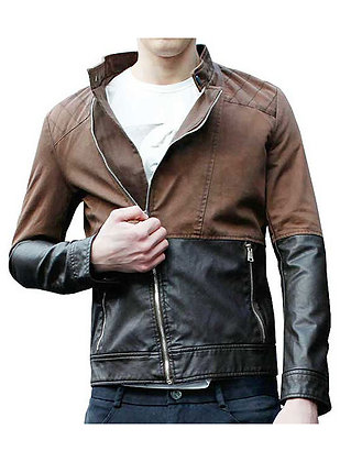 Two Colour Leather Jacket