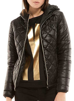 Quiltted Leather Hoody