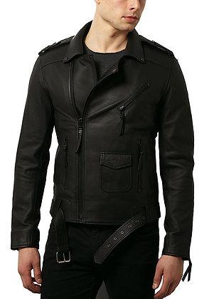 Simple Belt Letaher Jacket