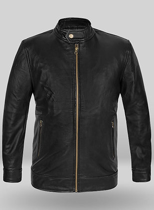 Antique Brass Zipper Leather Jacket