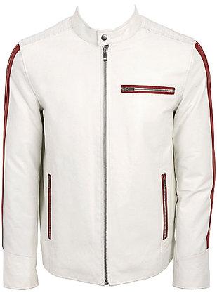 Elegant white Leather Jacket