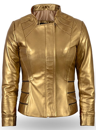 Golden Fitted Leather Jacket