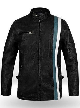 2 Colour Strip Leather Jacket