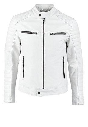 White Simple Leather Jacket