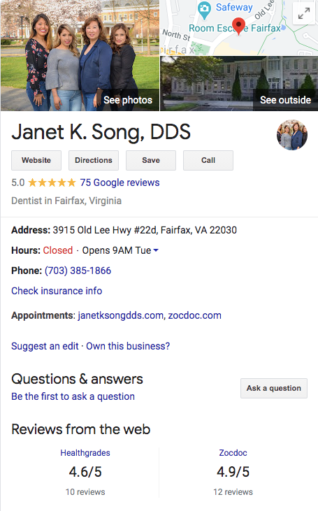 Janet K Song, DDS Google My Business Example