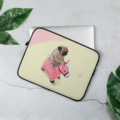Pug and Pink Horse Laptop Sleeve
