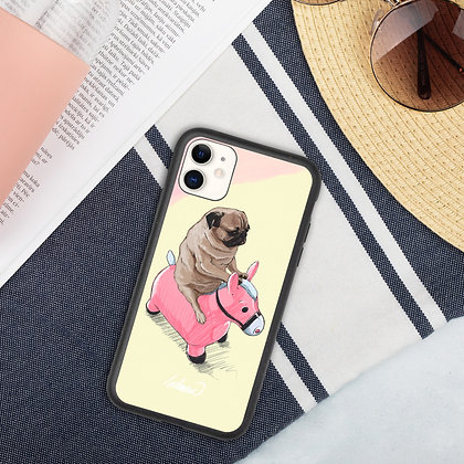 Pug and Pink Horse Biodegradable phone case
