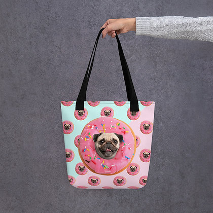 Pug Strawberry Donut Tote bag