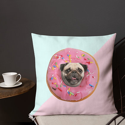 Pug Strawberry Donut Back Premium Pillow