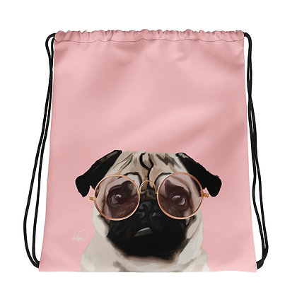 Intellectual Pug Drawstring bag