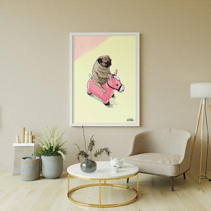 Pug Rider Framed poster