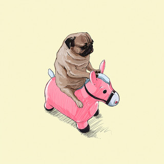 Pug and Pink Horse