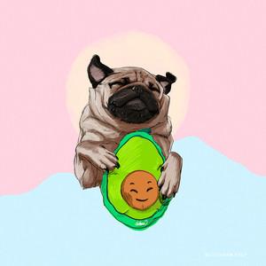 Pug-Abocado-Illustration-Art-Print-by-Lo