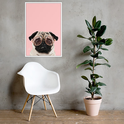 Intellectual Pug Framed photo paper poster